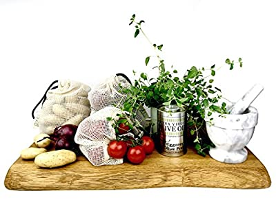 OXEL reusable eco organic cotton mesh net produce grocery bag - 3 pcs - Size 7.5 x 9.5 inches19 x 24 cm Fruit and vegetables Shopping Kitchen storage