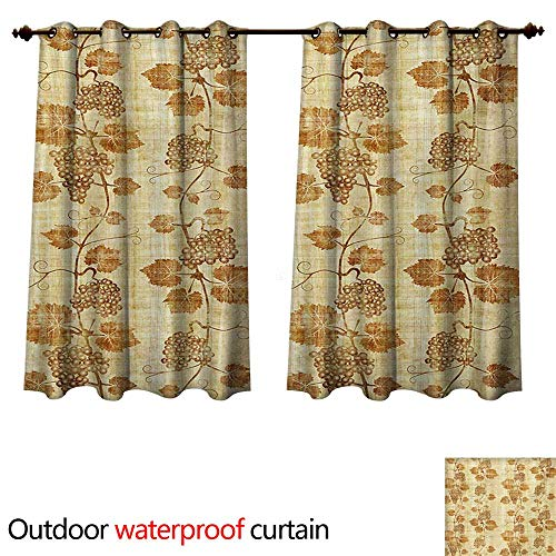 WilliamsDecor Vineyard Outdoor Curtain for Patio Cuisine Figure Ancient Egyptian Papyrus Like Parchment Aged Crumpled Artistic Display W108 x L72(274cm x 183cm)