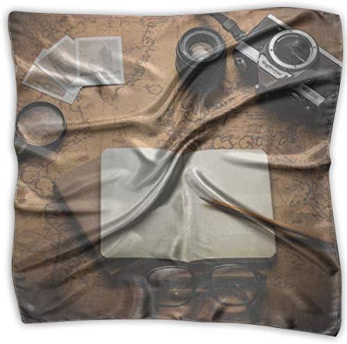 YANGZXC ヴィンテージスタイル オールドワールドマップ フォトカメラ ハンカチ ポリエステル製 ポケットチーフ 多用途 シルク バンダナ 繊細なプリント S ブラック PLMNKIO12-46103787-FO
