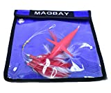 MagBay Lures Red Daisy Chain Tuna Feather Teaser with Bird - Offshore Fishing Trolling Lure