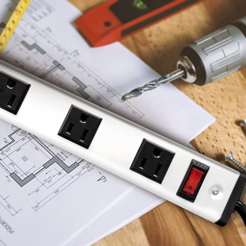 20 Outlet Heavy Duty Metal Socket Power Strip,15-Foot Long Extension Cord with Circuit Breaker. Mounting Brackets Included,Workshop Industrial use,ETL Certified