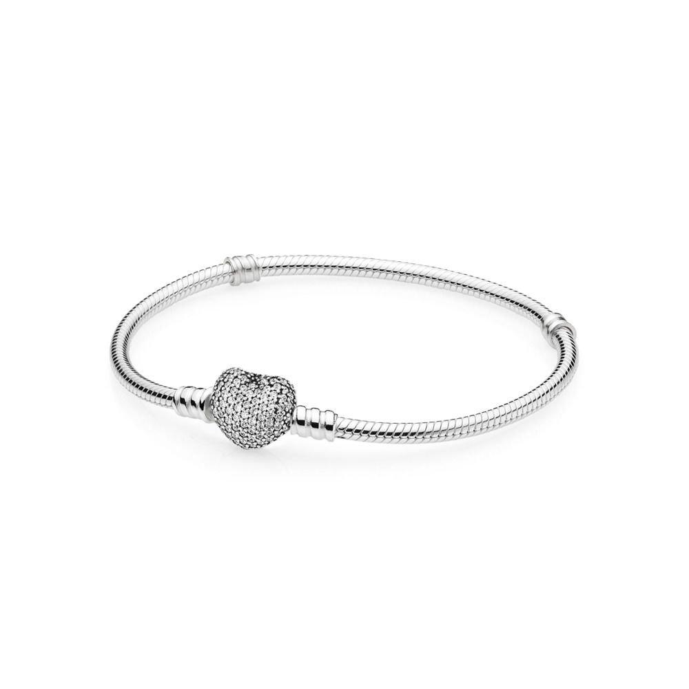 Pandora Women's Moments Silver Bracelet with Pave Heart Clasp