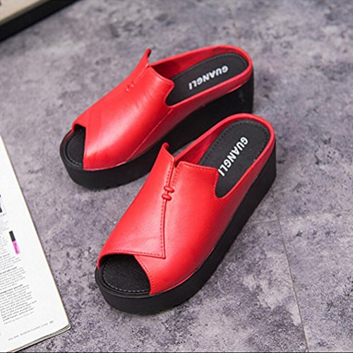 Transer Ladies Heel Platform Slippers - Women Beach Sandals Comfy Wedges Sandals Shoes Casual Red z3BQdS82Fd