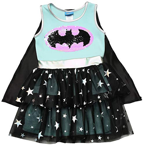 DC Comics Costume Dress Up Sequin Logo Cape Girls (Batgirl, Medium) -