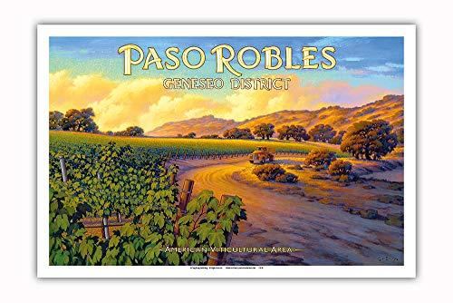 Pacifica Island Art - Paso Robles - Geneseo District - Central Coast AVA Vineyards - California Wine Country Art by Kerne Erickson - Master Art Print - 12in x 18in