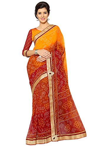 Saree Print - Sourbh Mirchi Fashion Women's Faux Georgette Bandhani Bandhej Print Saree (3031_Orange,Red,Yellow)