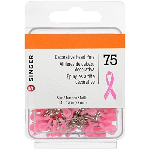 SINGER 00370 Breast Cancer Awareness Decorative Straight Pins, Size 24, - Komen Breast