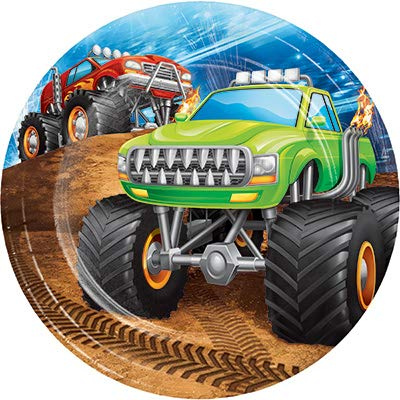 (Club Pack Monster Truck Rally Birthday Printed 7in Round Paper Plates, Box of 96 )