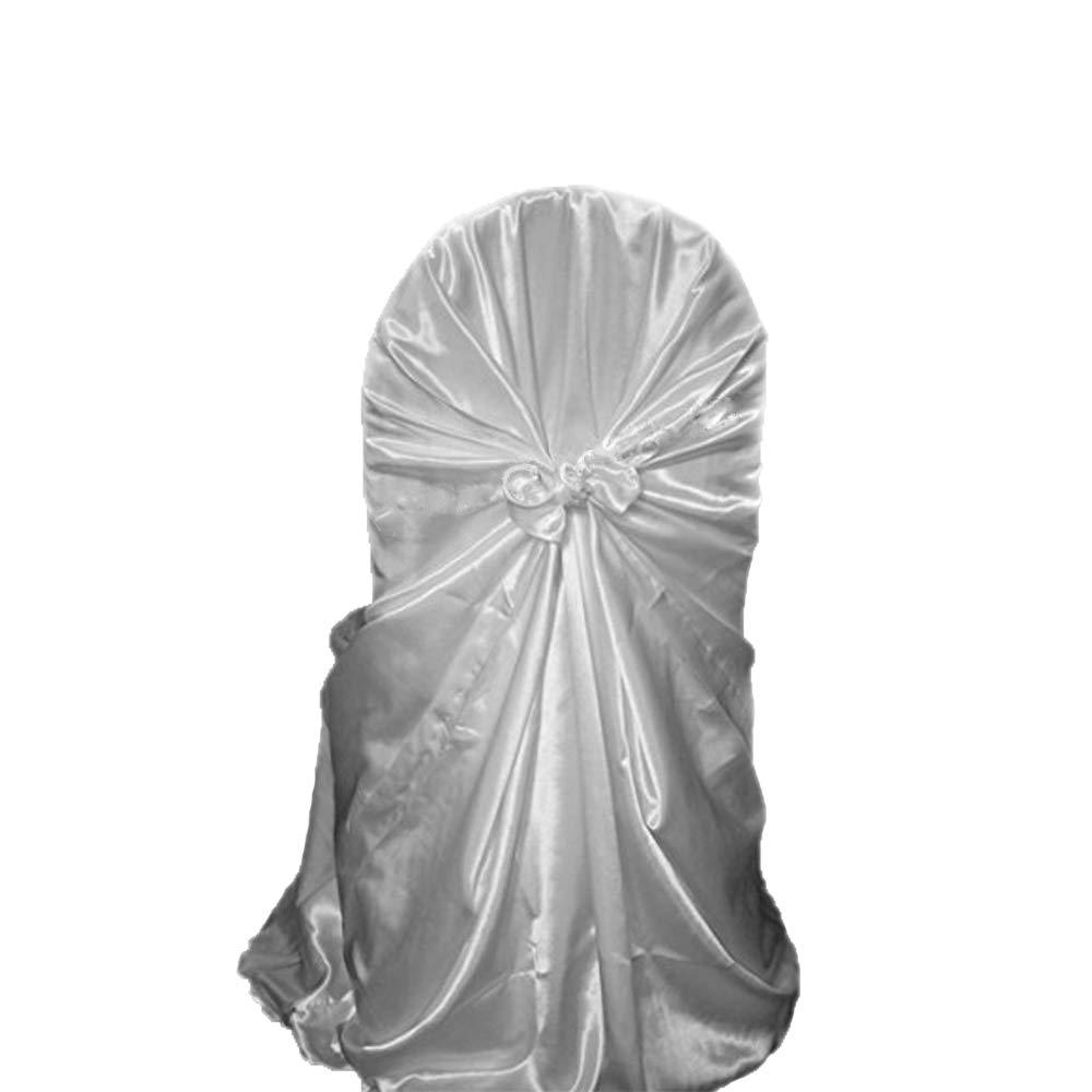 UNHO 50 PCS Housses de chaises Mariage Universel Couverture Chaise Auto-Attache en Polyster Satin/é D/écoration Moderne Mariage R/éception Anniversaire Banquet R/éunion Party F/êtes 120 x 135cm