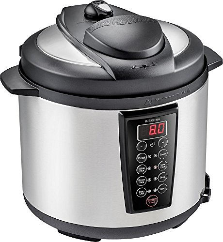 Insignia- 6-Quart Pressure Cooker - Stainless steel/black NS