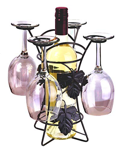 Ideas In Life Metal Wine Bottle and Glass Holder - Countertop Storage Wine Rack Stand Holds 1 Bottle and 4 Wine Glasses Free Standing Home Décor - Black