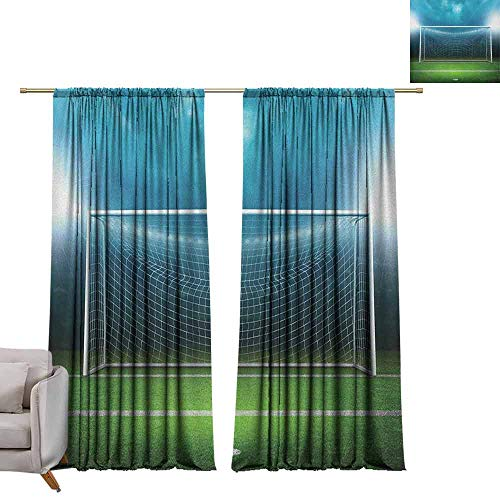 berrly Window Curtains Soccer,Soccer Goal Post Sports Area Winner Loser Line Floodlit Best Team Finals Game Theme, Green Blue W96 x L108 Grommet Window Drapes
