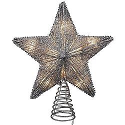Kurt Adler 10-Inch Silver Star Treetop with 10 Mini UL...