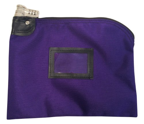 Lockable Bank Bag 1000 Denier Nylon Combination Keyed Security System (Purple) ()