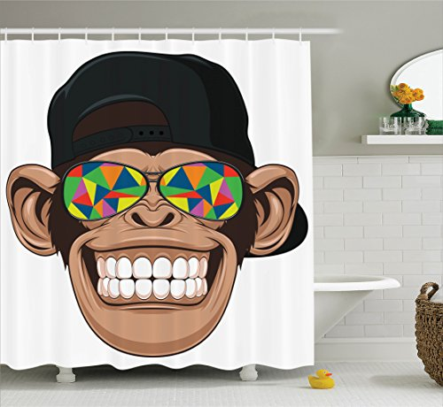 Ambesonne Cartoon Decor Shower Curtain Set, Fun Hipster Monkey with Colorful Sunglasses and Hat Rapper Hippie Ape Art Graphic, Bathroom Accessories, 84 Inches Extralong, Multi
