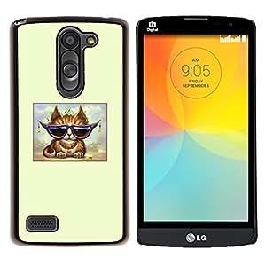 Cool Cat Glasses jengibre naranja del arte- Metal de aluminio y de plástico duro Caja del teléfono - Negro - LG L Prime / L Prime Dual Chip D337