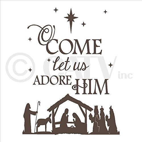 (Nativity) O come let us adore Him wall saying vinyl lettering (16''W x 21''H, Metallic Bronze)
