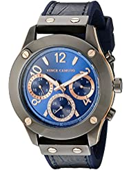 Vince Camuto Womens VC/5235BLNV Multi-Function Dial Navy Blue Croco-Grain Leather Strap Watch