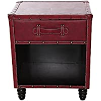 River Of Goods Wood Side Tables 14914 River Of Goods 21.5 Inch Tall Faux Leather Side Table - Burgundy 19 X 22.5 X 12.75 Inches Burgandy