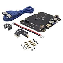 GeeekPi X820 2.5 Inch SATA HDD/SSD Storage Expansion Board Kit & 5V 4A Power Supply US/EU Plug for Raspberry Pi 1 Model B+/ 2 Model B / 3 Model B