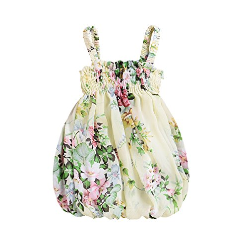 Baby Girl Toddler Dresses Cute Flower Print Sleeveless Strap Summer Sundress Clothes Outfits (Green, 6-12 Months)