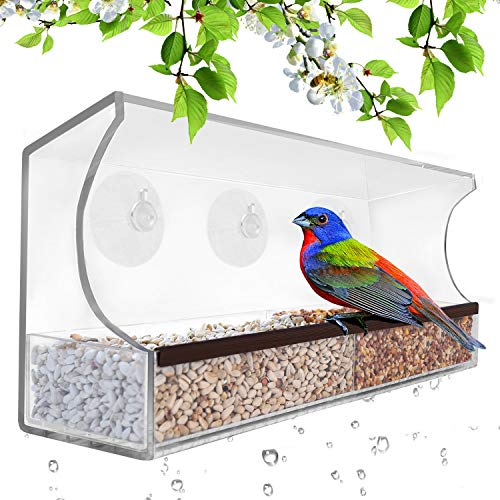 Gray Bunny GB-6850 Deluxe Clear Window Bird Feeder, Large Wild Birdfeeder with Drain Holes, Removable Tray, Super Strong Suction Cups, Transparent Viewing, Covered, High Seed Capacity, Rubber Perch (Window To Sticks That Bird Feeder)