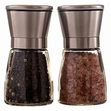 Oxtrix Stainless Steel Salt and Pepper Grinder Set, Adjustable Ceramic Rotor and Adjustable Coarseness