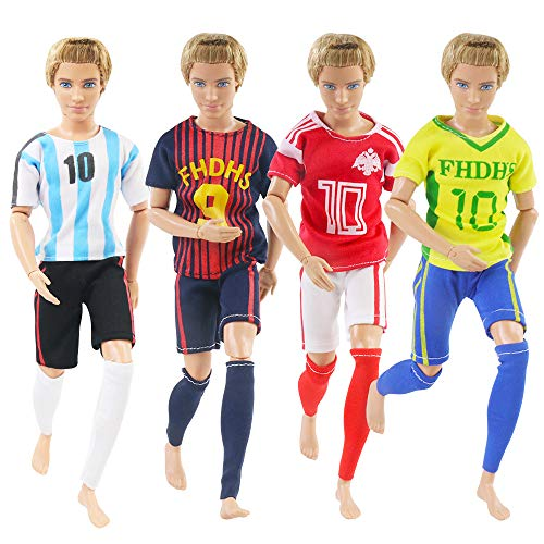 UCanaan 4 Sets Sports Wear Clothes + 1 Set Fashion Casual Outfit World Cup Football Socks Shirts with Pants and One Football for Ken Doll 12 Inch Boy Doll