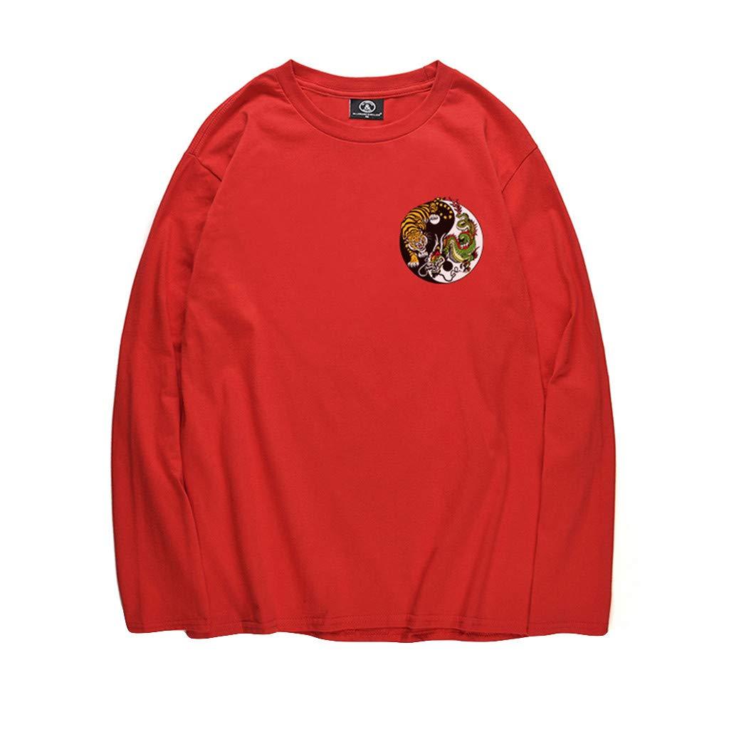 ¡Gran promoción!Hombres Blusas Primavera Otoño Invierno Empalme Animales Impreso Manga Larga Musculoso Sólido Camisetas Sólidas Básicas Tops: Amazon.es: ...