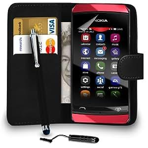 Mobi Plus Nokia 305 Leather Wallet Negro del caso del tirón de la cubierta Pouch + Mini Touch Stylus Pen + Grandes Touch Stylus Pen + 2 Protector y Pulido x Screen Cloth