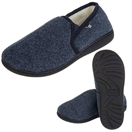 Pantofole Da Uomo Di Geoffrey Beene Caldo Memory Foam Sottopiede Suola Interna In Gomma Per Uomo Blu