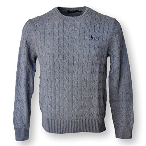 Polo Ralph Lauren Men's Pony Cable Knit Crewneck Sweater-Mid Grey (Signature Cable Knit)