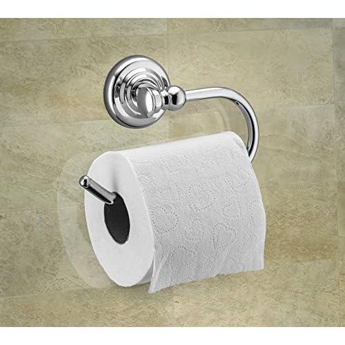hot sale 2017 Home Basics Wall Mounted Bathroom Holder, Silver Chrome (Toilet Paper Holder)