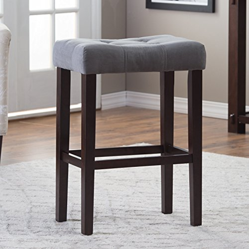 "Home Direct Gray Grey Contemporary Classic Set of 2 Microfiber Upholstered Counter Stool 26"" Seat Height Backless Saddle Style Stool"