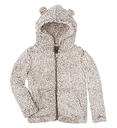 True Grit Youth Frosty Tipped Pile Teddy Bear Zip up Hoodie-Brown-Youth Medium