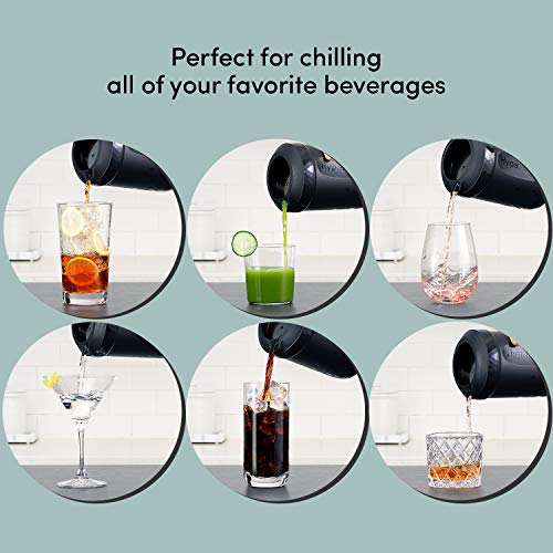 HyperChiller HC2 Patented Coffee/Beverage Cooler Ready in One Minute, Reusable for Iced Tea, Wine, Spirits, Alcohol, Juice, 12.5 oz, Black