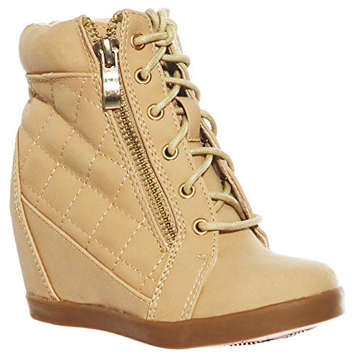 (Girl's Wedge Heel Lace Up Diamond Shape Quilted Sneakers(9,Beige))
