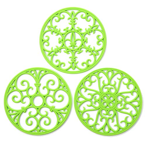 - Silicone Trivet Mat - Non-Slip & Heat Resistant Kitchen Hot Pads for Countertops & Table - Kitchen Trivets for Hot Dishes & Cookware - Hot Pot Holder for Pots & Pans - Lime Green,Set of 3