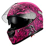 1Storm Motorcycle Full Face Helmet Dual Lens/Sun Visor Matt Skull Pink