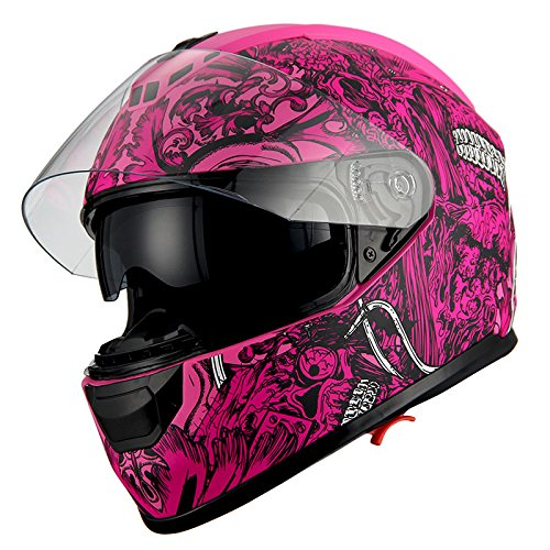 (1Storm Motorcycle Full Face Helmet Dual Lens/Sun Visor Matt Skull Pink)