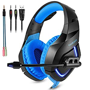 ONIKUMA Gaming Headset with Mic for New Xbox One, PS4, Nintendo Switch - Noise Isolating, Deep Bass - 3.5mm Surround Stereo USB LED Gaming Headphones for Iphone, Ipad, PC, Laptop (Blue)