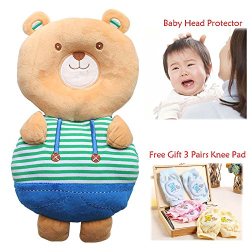 Baby Crawling Pads Head Protector Cushion 3Pairs Toddlers Knee Pads with Lovely Cartoon Flexible Strap Prevent Head Shoulder Injured (Bear)