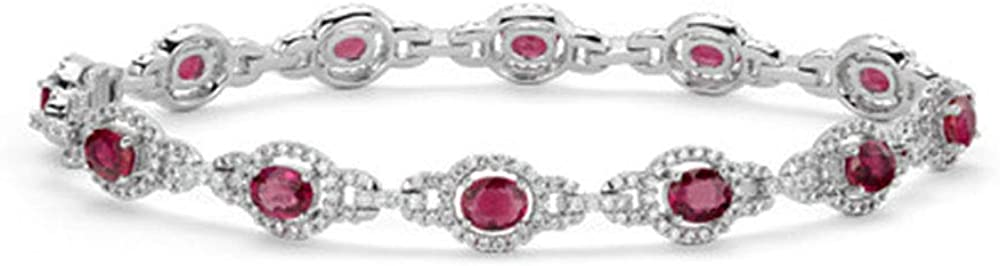 Dividiamonds - Pulsera de Tenis de 18 Quilates, chapada en Oro Blanco, Corte Ovalado, rubí Rojo, para Mujer
