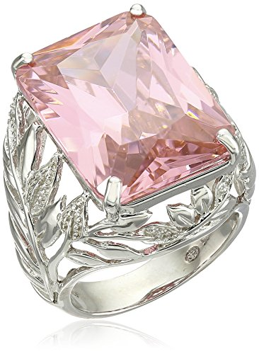 Sterling Silver Emerald Cut Pink Cubic Zirconia Openwork Band Ring, Size - Macy's Emerald Square