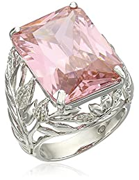 Sterling Silver Emerald-Cut Pink Cubic Zirconia Ring