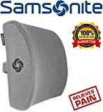 Samsonite SA5244 Lumbar Support/Gray Ergonomic Pillow-Helps Relieve Lower Back Pain-100% Pure Memory Foam-Improves Posture-Fits Most Seats-Breathable Mesh-Washable Cover-Adjustable Strap