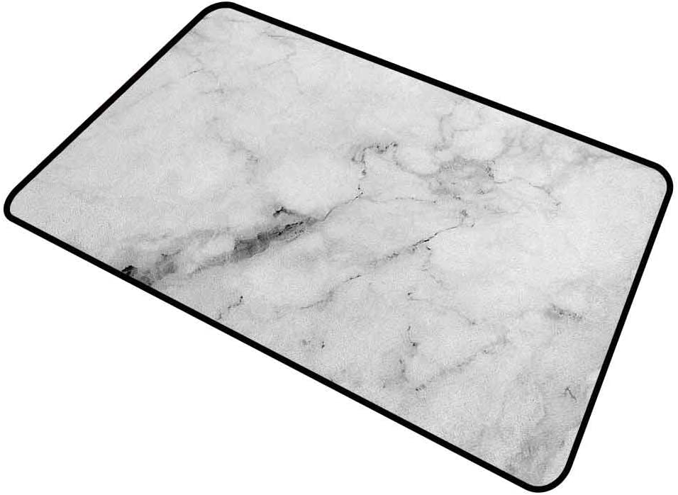 Doormat Outdoor Marble Home Plate Doormat Marble Surface Pattern with Cracked Lines and Hazy Stripes Artistic Display 31