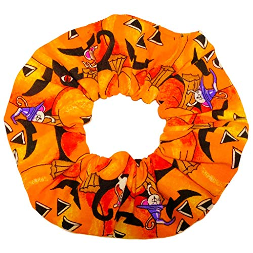 Halloween Pumpkin Cotton Scrunchies Ponytail Holders Hair Ties Scrunchie King Made in USA ()