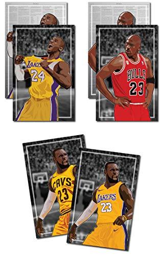 3 Posters of NBA G.O.A.T. - Michael Jordan, Kobe Bryant, LeBron James Art Prints - Buy 1 Get 2 Free, 3 total prints (2-sided) (Medium Set - 12