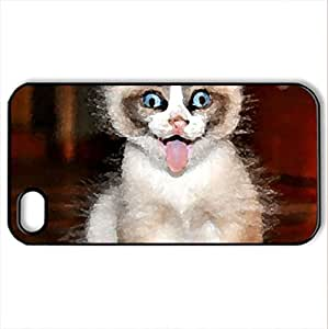 Bleah! - Case Cover for iPhone 4 and 4s (Cats Series, Watercolor style, Black)
